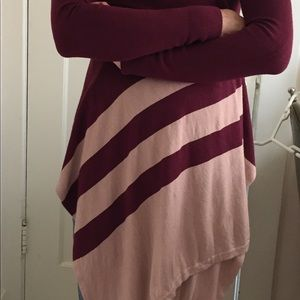 Sweaters - Burgundy and beige sweater wrap